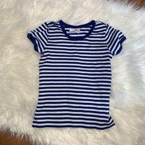 Hanna Anderson girls blue white stripe t shirt